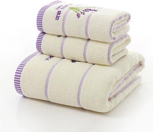 Juego de toallas de baño de algodón de tres piezas con estampado de lavanda, juego de
