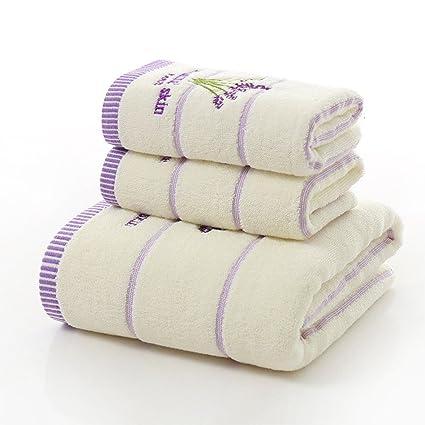 Juego de toallas de baño de algodón de tres piezas con estampado de lavanda, juego de toallas de viaje para el hogar, 600 g, 2 toallas 34 x 75 cm, ...