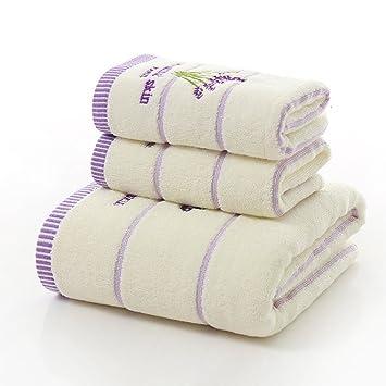 Juego de toallas de baño de algodón de tres piezas con estampado de lavanda, ...