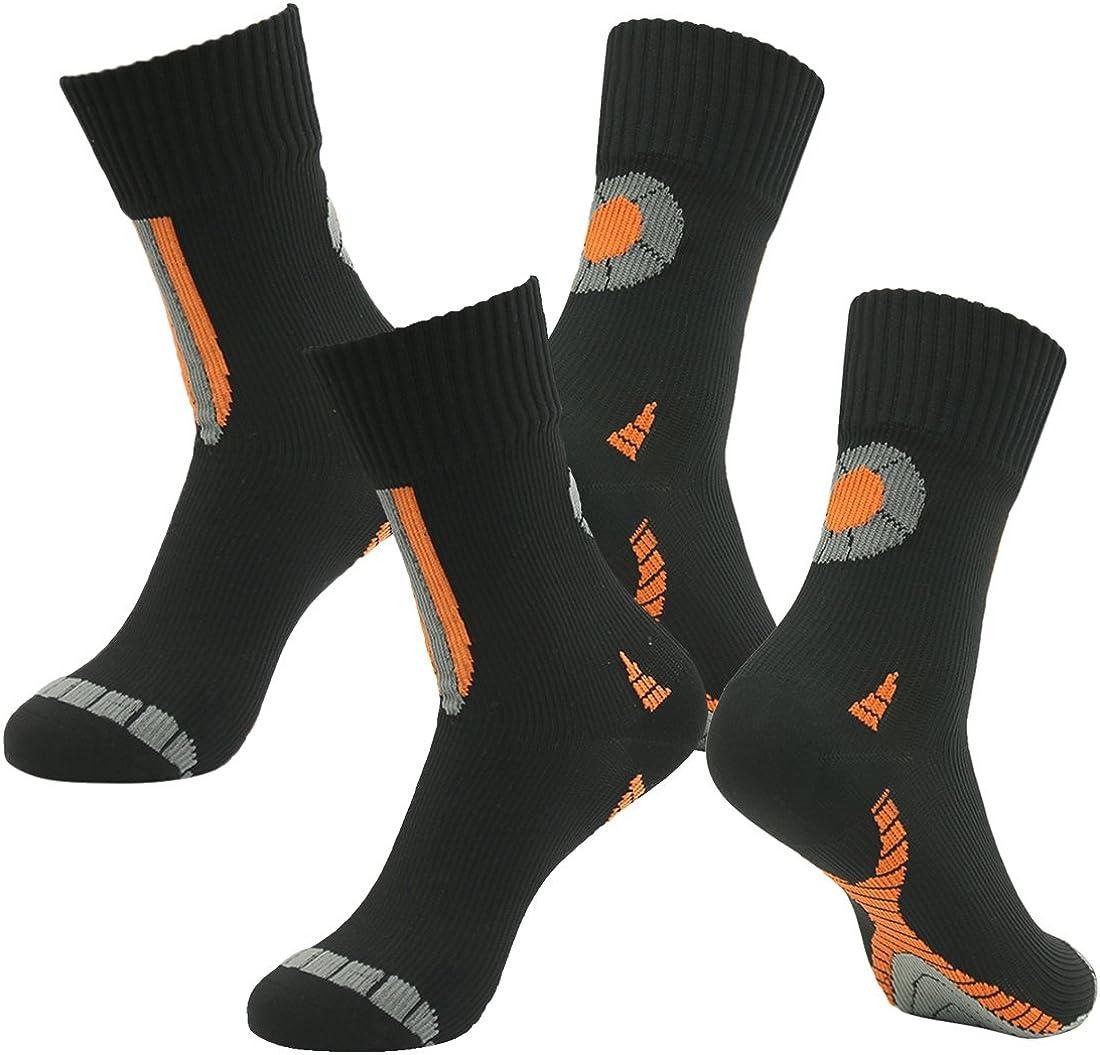100% Breathable Waterproof Socks, RANDY SUN Men's 2 Pairs Performance Top Colorful Trail Socks Novelty Socks Black Small