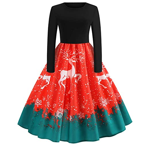 fudule women christmas dresses long sleeve vintage christmas print dress flare swing mini dress evening party - Vintage Christmas Dress