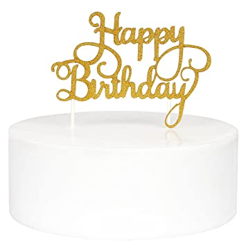 Amazoncom INNORU Happy Birthday Cake Toppers Single Sided Gold