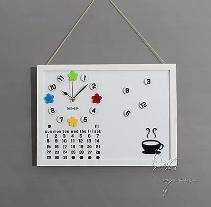 Calendario Perpetuo Da Parete.Fpigshs Orologio Da Parete Lavagna Per Messaggi Calendario
