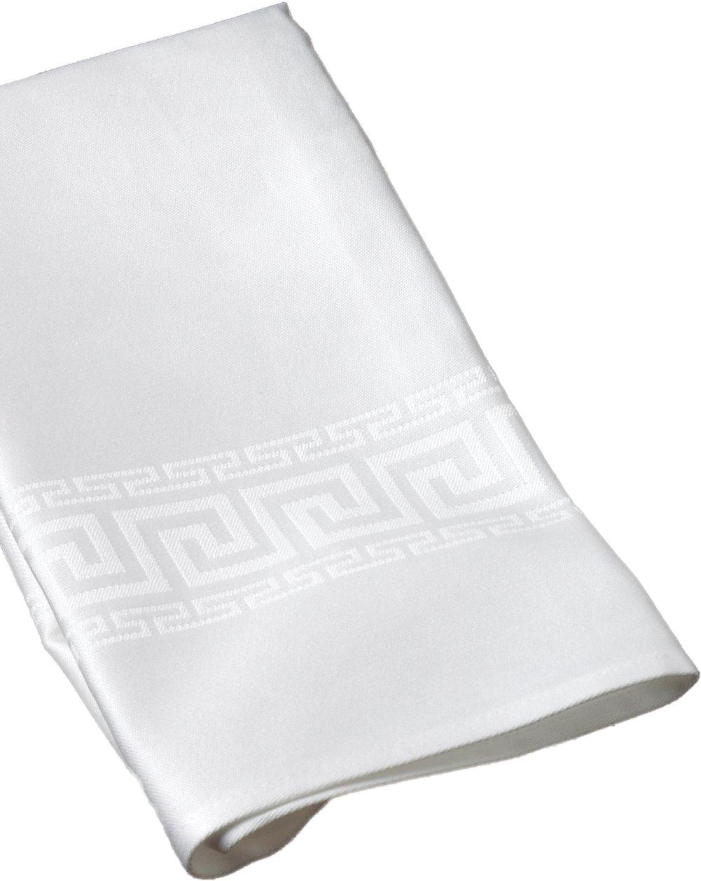 (Oyster) - Elegant Greek Key Design Damask Napkins, 50cm x 50cm, 100% Cotton, Set of 4 (Oyster Colour)  オイスター B00C4AI5EM