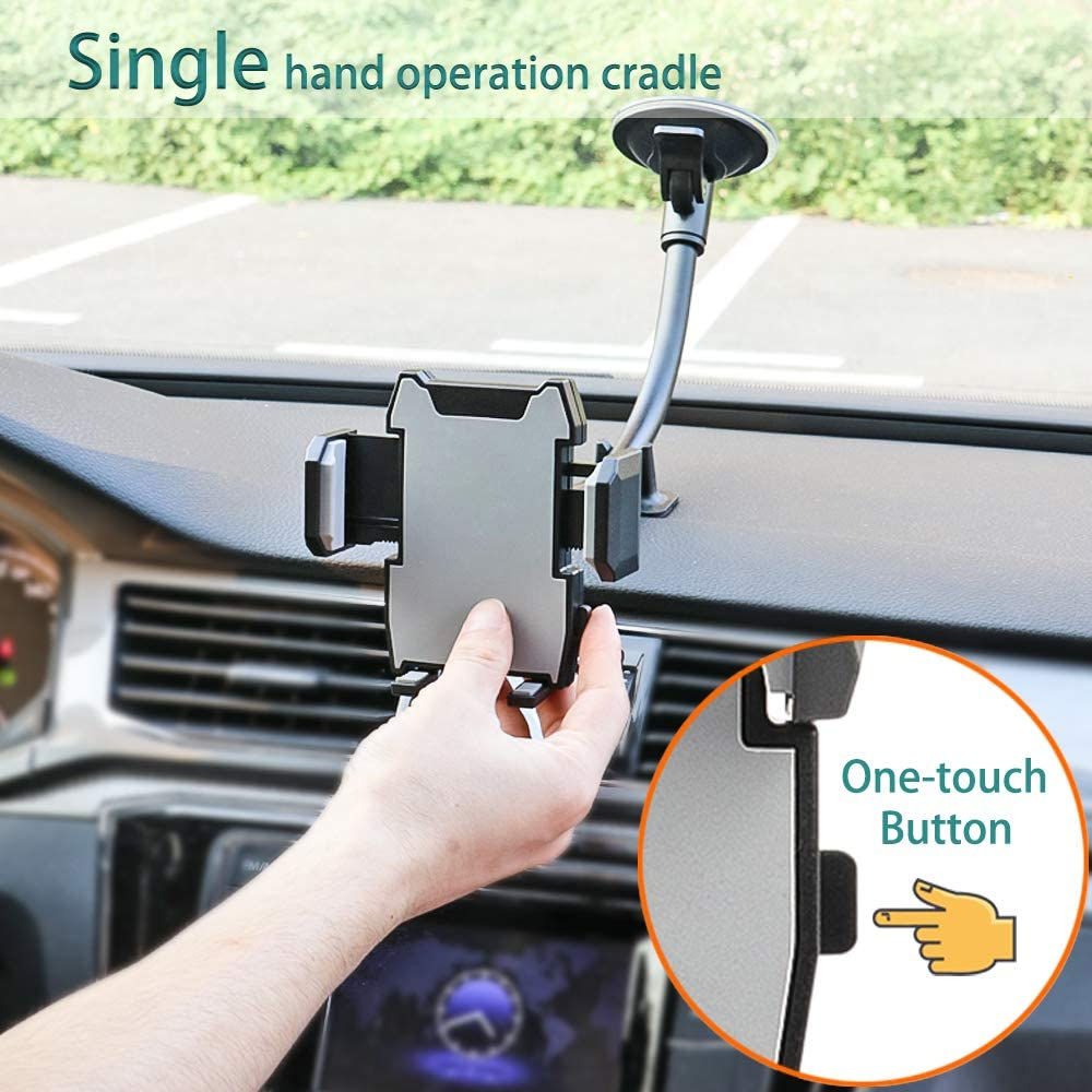 Windshield Phone Holder with Shock Absorption Design for iPhone 11//Xs//Xr//X//8 Plus//8//7//6 Samsung Note 10+//10//9//8//7 Kolasels Long Arm Cell Phone Holder for Car HTC LG and More Cell Phones