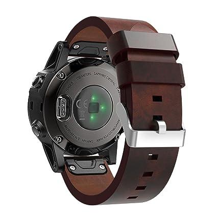Sannysis Correas para Garmin Fenix 5 GPS, Banda de Cuero Artificial de Garmin Fenix 5