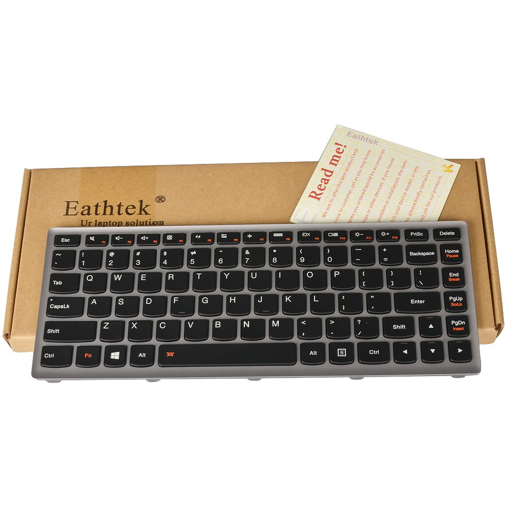 Eathtek Replacement Keyboard with Backlit and Silver Grey Frame for IBM Lenovo Ideapad Z400 Z400T Z400A P400 Z400N Z400P series Black US Layout, Compatible with part# 25210667 MP-12J3 MP-12J33USJ6861