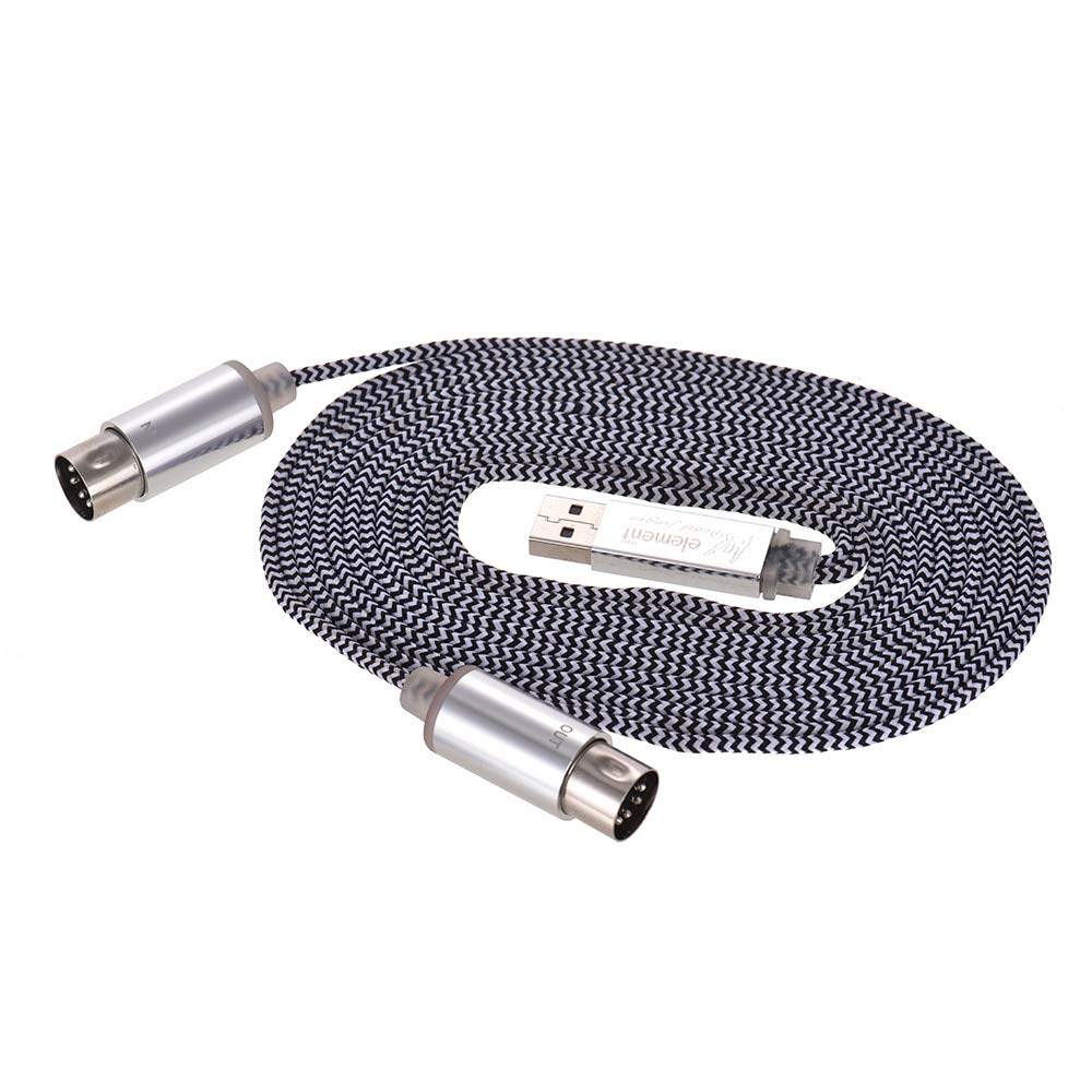 Bowbof - MIDI Keyboard Cable Music Cord MIDI IN-OUT to USB Cable Aluminum Alloy Plugs for Connecting Electric Piano Keyboard to PC Laptop