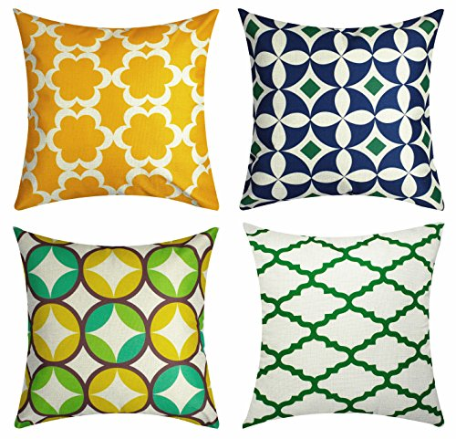 Throw Pillow Cover Case Soft Lattice Cushion Cover Decorative Geometric Circle Pillow Covers Square for Couch Sofa Home Decor, 18