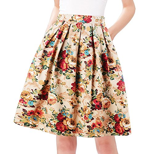 Taydey Retro Style Pleated Skirts Floral Print Short Size 3XL Golden Flower -