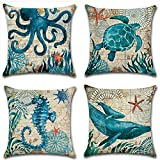 SYH003 Decorative Ocean Park Theme Cotton Linen Throw Pillow Covers 18 x18 Inch (Pack of 4 Pieces)