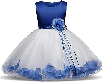 NNJXD Girl Flower Petal Bowknot Bautizo Vestido de Fiesta de la Dama de Honor de la Boda 0-8 Años