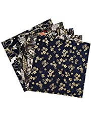 """Misscrafts 5PCS Japanese Style Fabric Flower Cotton Patchwork Bronzing Fabric 9.8""""x9.8""""/25x25cm Quilting Sewing for Event DIY Crafts"""