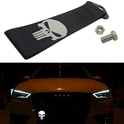 Kaizen Reflective Universal Skull Racing Tow Strap JDM Towing Strap Punisher Bumper Towing Set for Front Or Rear Bumper Towing Hook (Black): Automotive