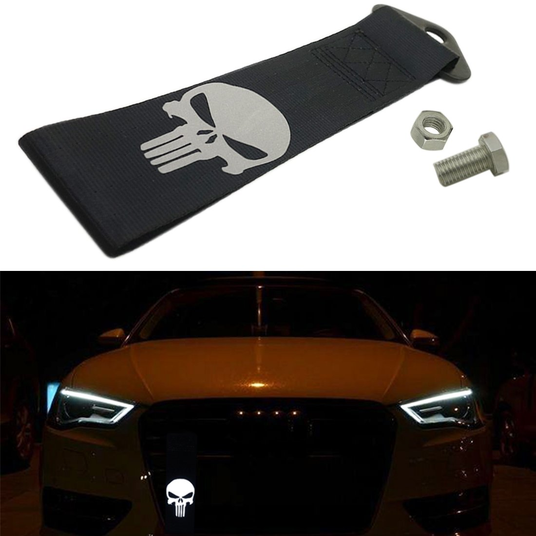 Kaizen Reflective Universal Skull Racing Tow Strap JDM Towing Strap Punisher Bumper Towing Set for Front Or Rear Bumper Towing Hook (Black) Kaizen Acc