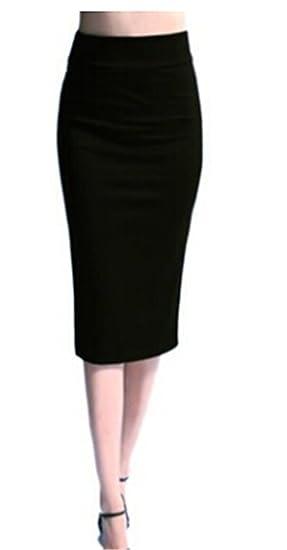 a63f35ad2 GAMT Women's Polyester Pencil Skirt High Waist Tight Skirt Black S ...