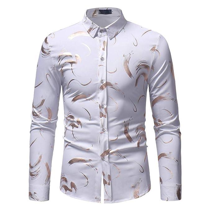 1c864e78051c iHAZA Uomo Primavera Estate Lusso Elegante Bavero Stampa Manica Lunga  Camicia Top Camicetta  Amazon.it  Abbigliamento