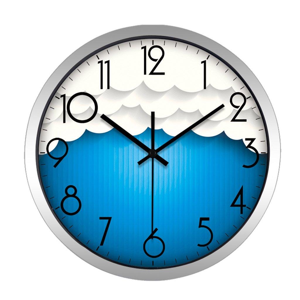 掛け時計 キッド白い雲のパターンクリスマスウォールクロック青い壁の装飾ミュート寝室 Rollsnownow (色 : シルバー しるば゜, サイズ さいず : 12インチ) B07FPHYMY1 12インチ|シルバー しるば゜ シルバー しるば゜ 12インチ