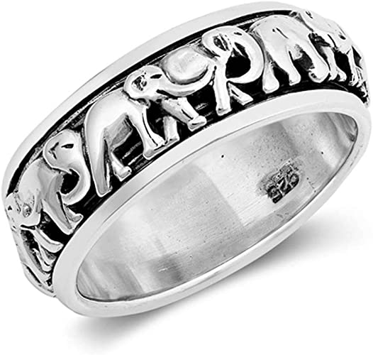 Oxford Diamond Co Sterling Silver Elephant Design Ring Sizes 5-10