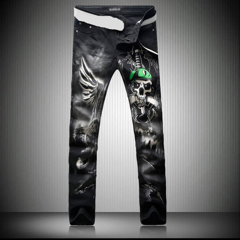 Futtle Men's Individuality Pirate Printed Jeans Male Slim Fit Trousers Nightclub Motobike Style Pants (3, 36) by Futtle (Image #2)