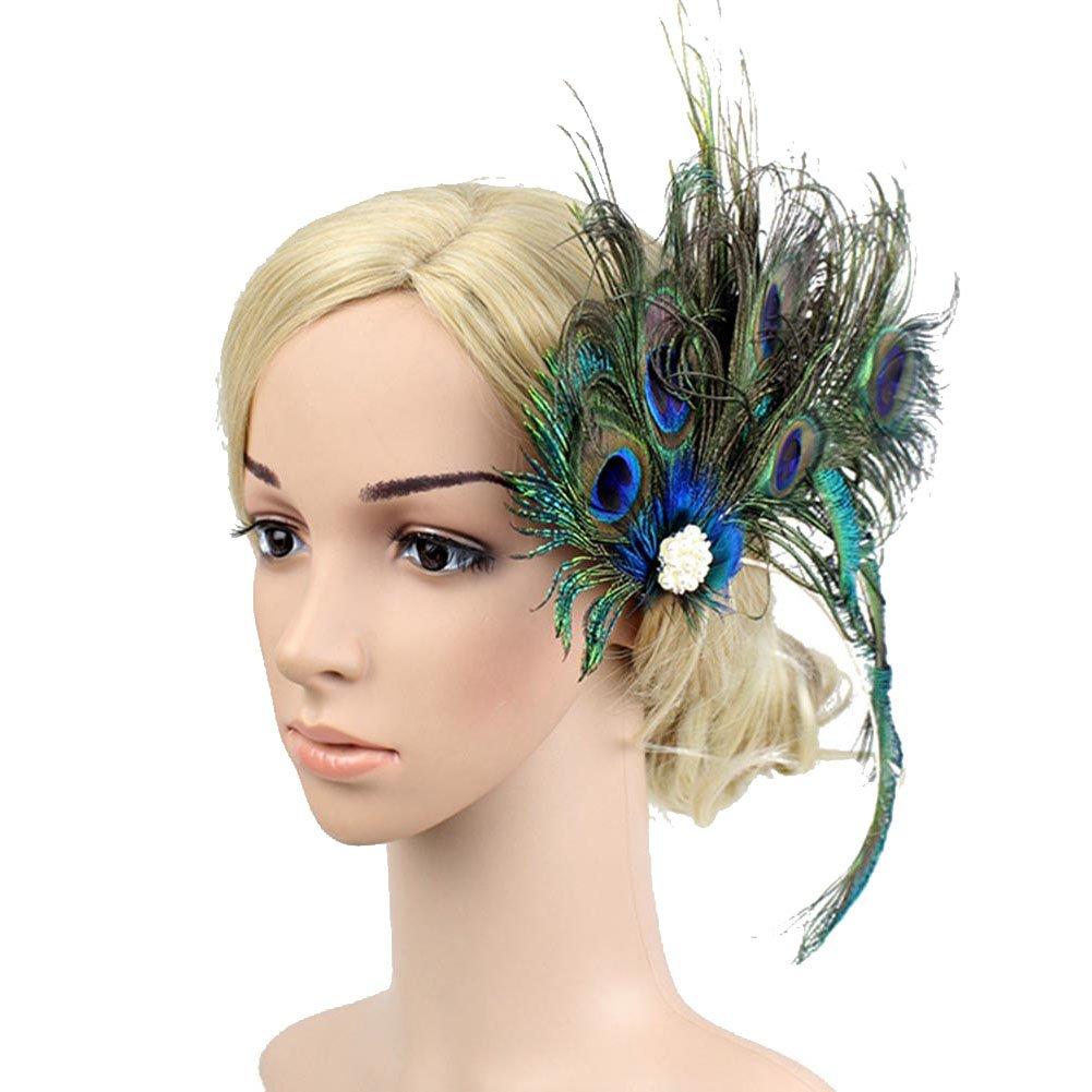 Mwfus Women 20s Peacock Feathers Flapper Headpiece Gatsby Party Headwear Hair Clip Hairpin