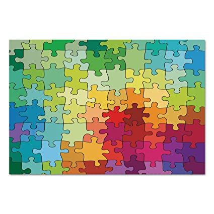 Large Wall Mural Sticker AbstractColorful Puzzle Pieces Fractal Children Hobby Activity Leisure Toys