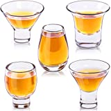 ZENS Sake Cups Set,5 Mixed Crystal Glasses Saki Cup Sets with Heavy Base for warmer or Cold Traditional Japanese Liquor…