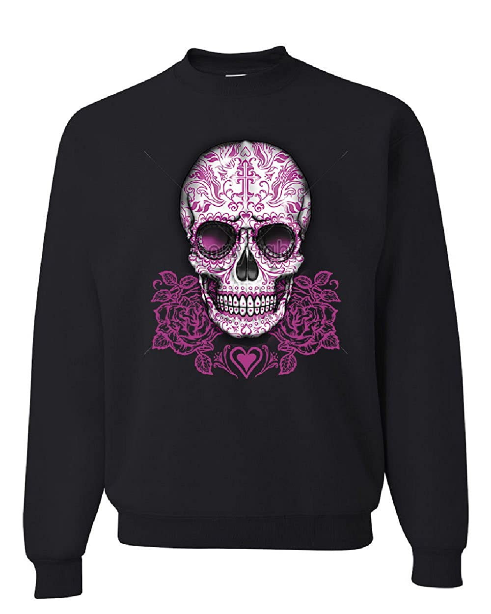 Pink Sugar Skull with Roses Sweatshirt Calavera Day of The Dead
