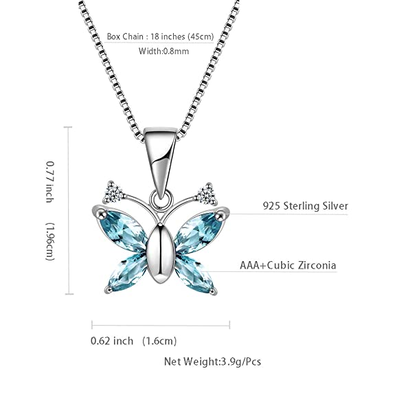 Buy Aurora Tears Blue Butterfly Necklaces Women 925 Sterling Silver Animal Pendants Girls Butterflies Charm Jewellery Cubic Zirconia Dating Gift Dp0085b At Amazon In