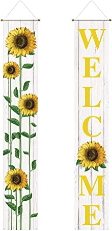 Funnytree Summer Sunflower Porch Sign Welcome Floral Yard Banner Polyester Farmhouse Door Hanging Dessert Seasonal Decorations Windproof Backdrop Birthday Baby Shower Party Supplies 2pcs Garden Outdoor