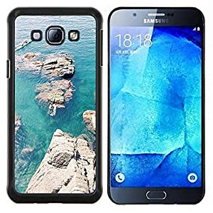 Eason Shop / Premium SLIM PC / Aliminium Casa Carcasa Funda Case Bandera Cover - Rocas Canoa Azul Mar Océano - For Samsung Galaxy A8 ( A8000 )