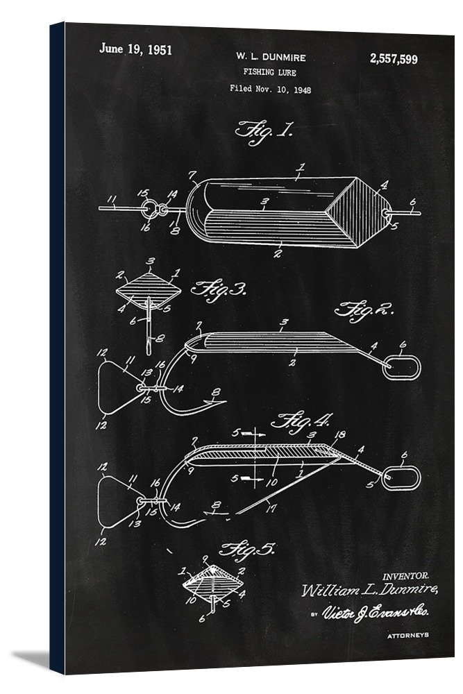 Blackboard Patent 24x36 Framed Gallery Wrapped Stretched Canvas Fishing Lure