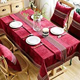 Northern Europe Linen Tablecloth,Home Living Room Pure Color Table Cover Do Not Fade Wear-Resistant Tea Table Cover Table Cloth Table Cover Skirt-F 140x240cm(55x94inch)