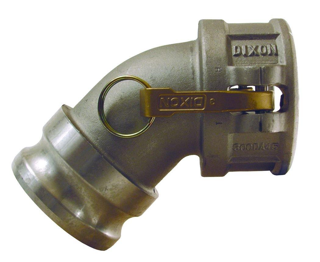 Dixon Valve & Coupling 400DA-45AL Aluminum Cam and Groove Hose Fitting, 45 Degree Elbow, 4'' Plug x 4'' Socket
