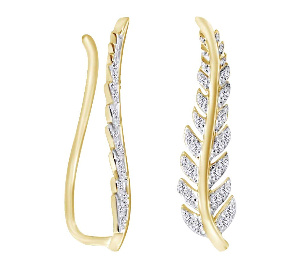 (0.33 cttw) Round Cut White Natural Diamond Feather Climber Ear Crawler In 10k Yellow Gold by AFFY (Image #2)