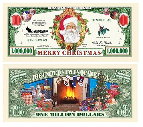 American Art Classics Pack of 5 - Merry Christmas Santa Claus Million Dollar Bill - Collectible Novelty St. Nick Million Dollar Bills - Best Fun Stocking Stuffer Gift