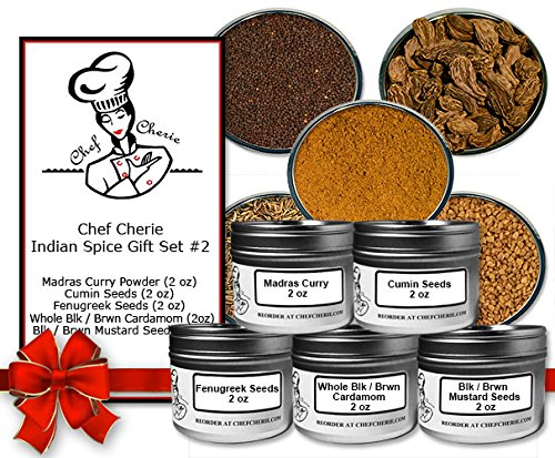 Chef Cherie's Indian Spice Gift Set #2 - Contains 5 X 2 oz. Tins