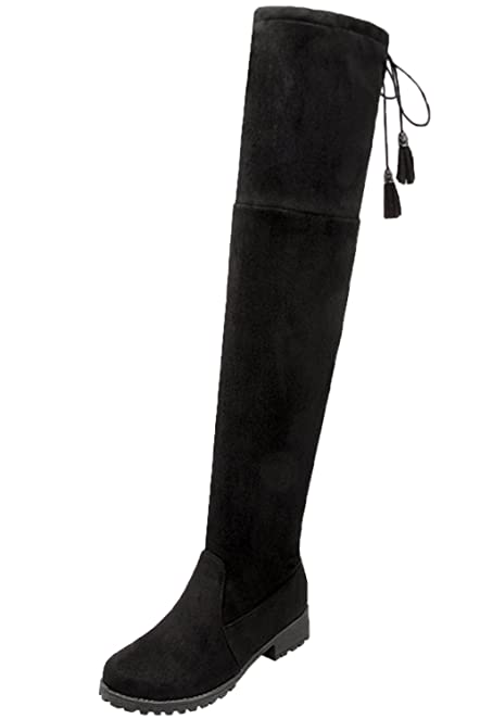 BIGTREE Thigh High Boots Women Lace Up Casual Fall Winter Comfortable Warm Flat Faux Suede Long Boots
