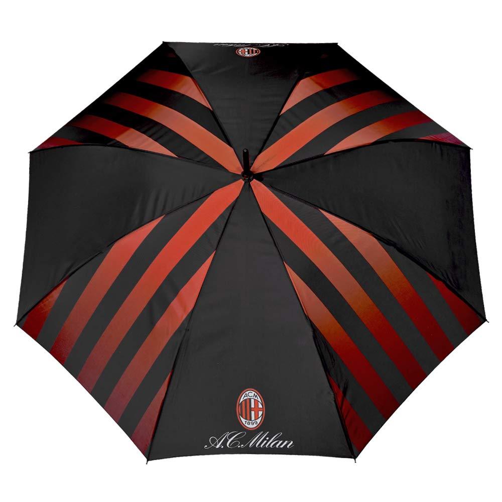 Ombrello Lungo AC Milan - Apertura Automatica - con logo ufficiale Milan - fondo Nero a strisce Rosse - Diametro 116 cm 15050A