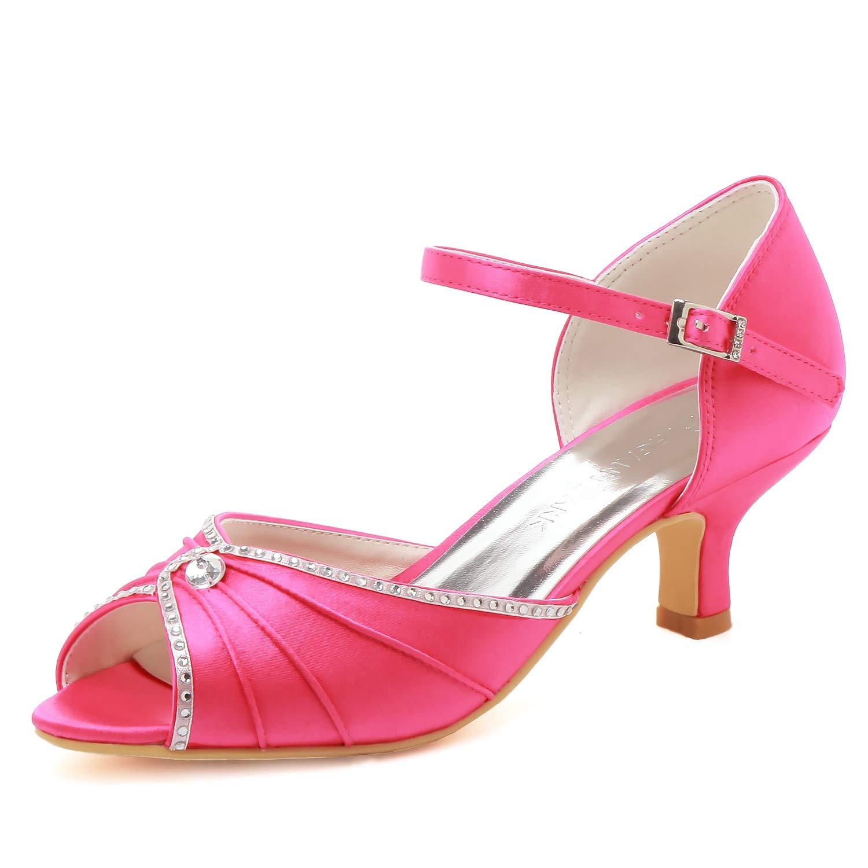 Elegantpark HP1623 Wedding Sandals for Bride Low Heel Women Bridal Sandals Peep Toe Ruched Rhinestones Satin Wedding Bridal Party Shoes