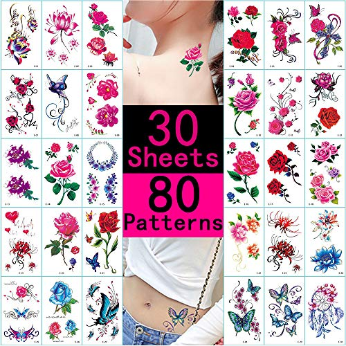Temporary Tattoos for Women 30 Sheets Fake Tattoo Stickers Flower Butterfly Small Patterns Waterproof Temp Tattoos for Hand Face Leg Arm Neck Body Art Personal Beauty Fashion Decorations