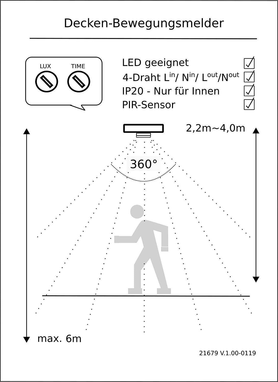 Slim Flach 24mm Infrarot Decke Bewegungsmelder 360/° 1W-2000W 230V LED geeignet