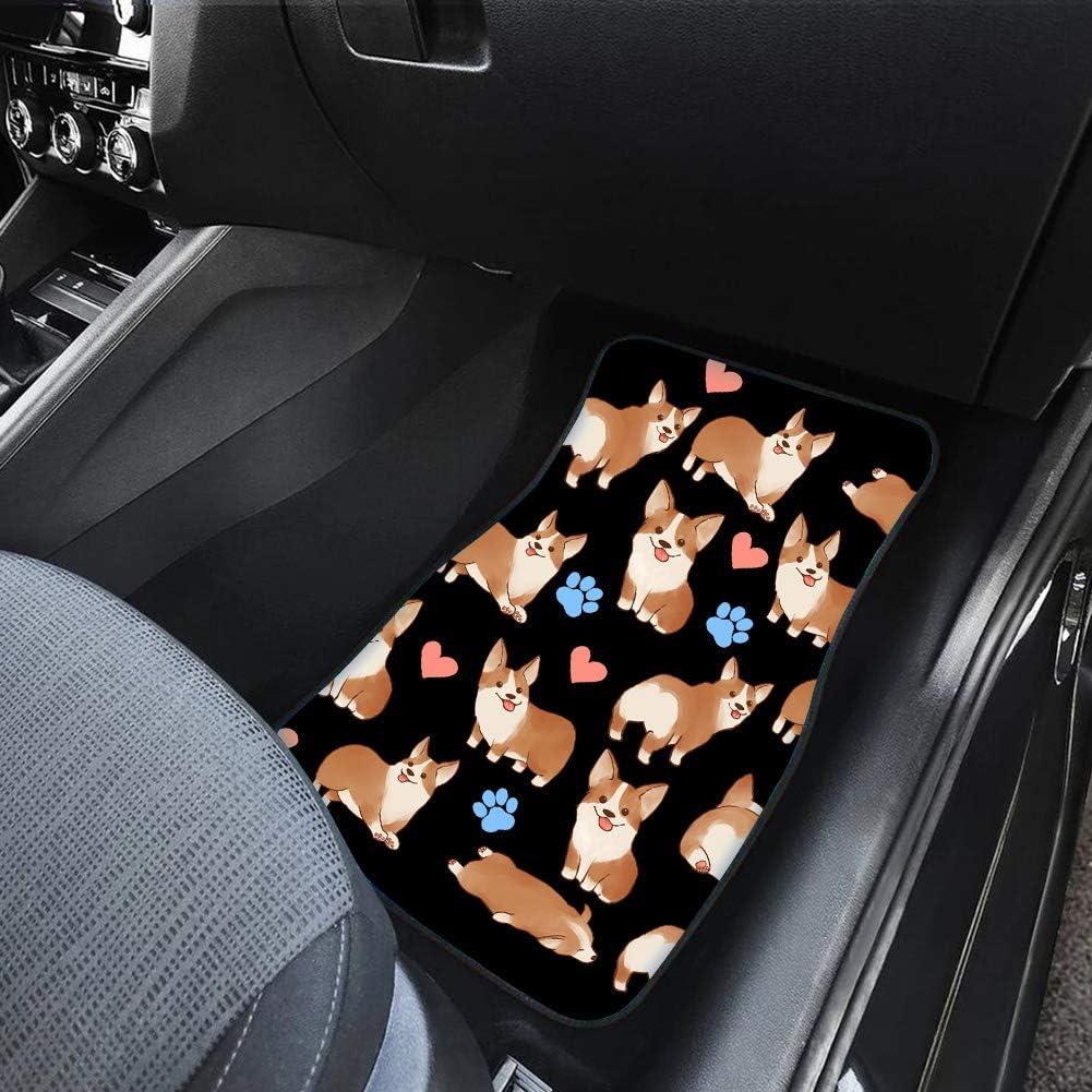 FUIBENG Car Accessory Classic Front Floor Mats for Auto Cartoon Funny Sloth Print Non Slip Flannle Car Foot Mats