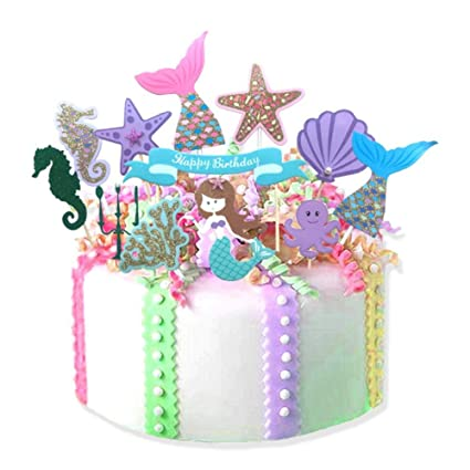 Amazon 12pcs Fairytale Mermaid Theme Happy Birthday Cake