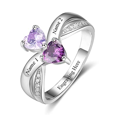 569d941ad2b46 Diamondido Personalized Couple Promise Rings for Her 2 Simulate Birthstones  for Women Engraved Names Engagement Ring