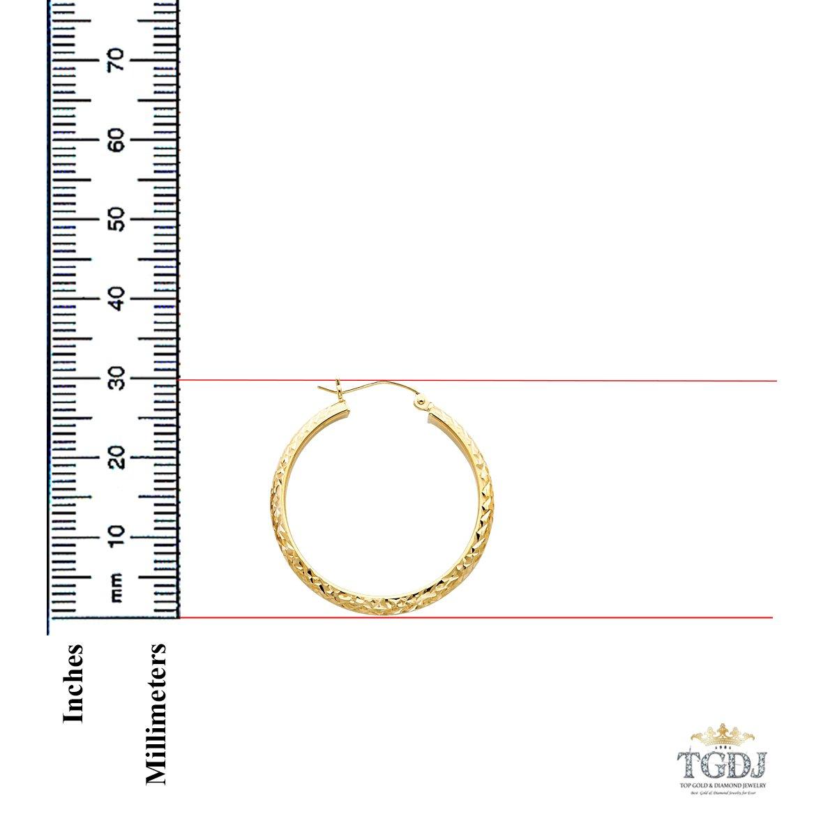 14K Yellow Gold 3.5mm Diamond Cut Hoop Earrings 30//22//18mm
