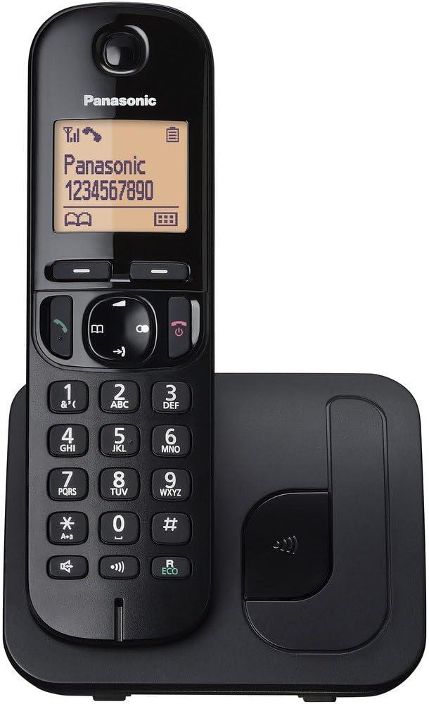 Panasonic KX-TGC210 - Teléfono (Teléfono DECT, Altavoz, 50 entradas, Identificador de Llamadas, Negro)