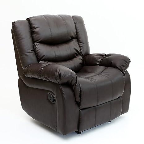 SEATTLE - Sillón reclinable de cuero, con reposabrazos, para ...