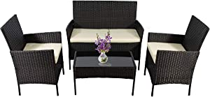 4 Pieces Outdoor Patio Furniture Set All-Weather Wicker Rattan Loveseat and Chairs Sofa Set with Tempered Glass Table, Cushioned Seats Conversation Sets for Garden, Lawn and Backyard (Black)