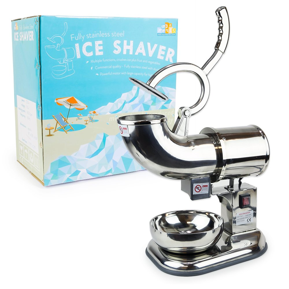 WYZworks Green Commercial Ice Shaver Dual Blade 143lb/h Crusher Shaved Icee Maker Machine WYZ-ICESHAVER-ZY-SB100-GRN